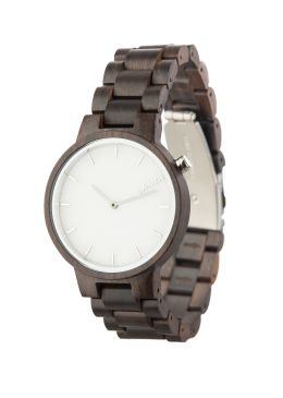 """Wooden watch MARMO: """"Marmo"""" is created out of sandalwood. Characteristic is the dial, made out of South Tyrolean marble. This model is prominent, chic and even so an accessory that can be worn every day."""