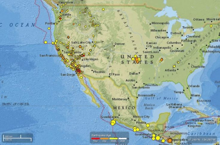 California is an earthquake prone region. Note the time bar on the bottom of this map. These are moderate and small earthquake occurring over the past week.  Via USGS page of recent earthquakes in California.