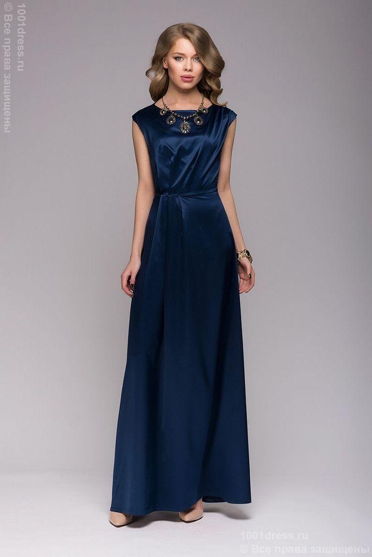 Красивое темно-синее платье длины макси с короткими рукавами в интернет-магазине 1001DRESS