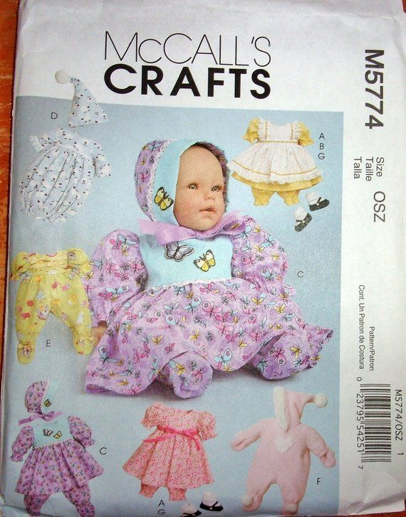 Reserved Listing Mccall S 5774 Craft Sewing Pattern 11 13 14 16 Baby Doll Clothes Wardrobe Dress Pinafore Bonnet Nightgown Etc Uncut Ff Baby Doll Clothes Patterns Baby Doll Clothes Doll Sewing Patterns