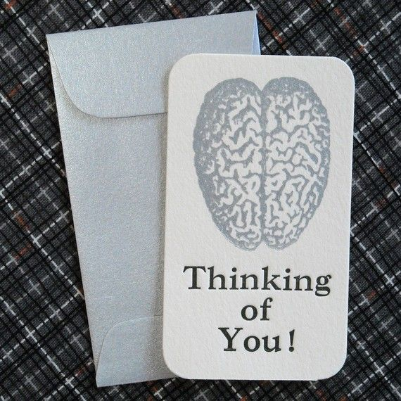 Paper Goods - Valentine's Day - Letterpress Mini  Cards and Envelopes - Set of Ten - Silver Brain - Thinking of You. $15.50, via Etsy.