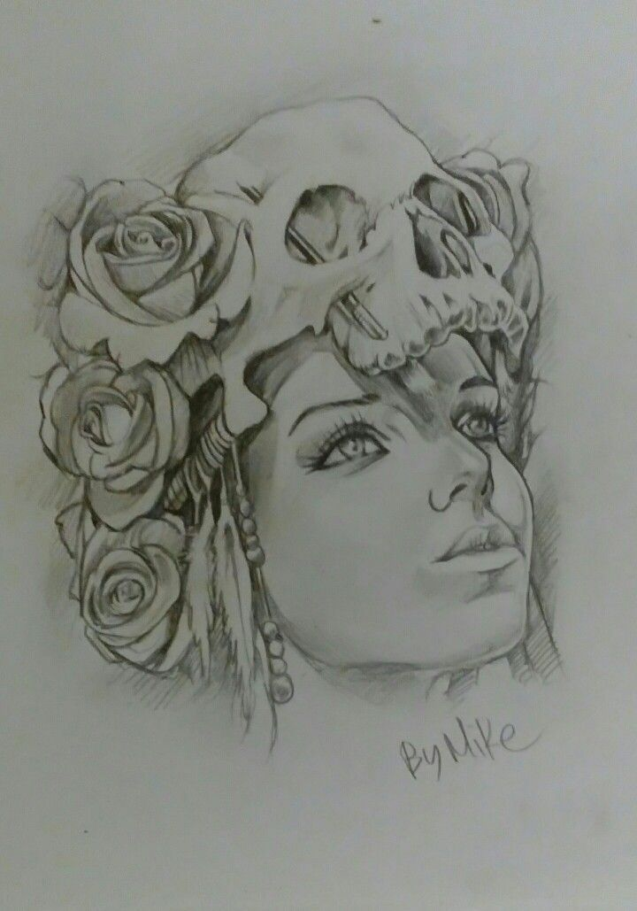 Sketch Potrait on Canson Paper A3 By Artist Mike Eleftheriou Title: Rudimental skull girl