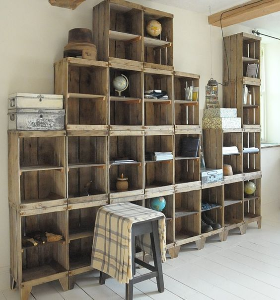 Build a Shelving Unit with a Wall of Old Crates! - The Best DIY Wood Pallet Ideas