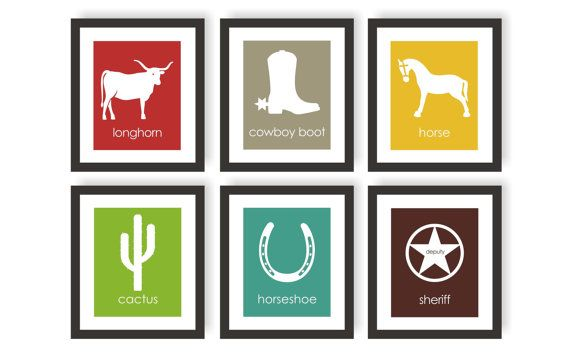Western Wall Art Nursery & Childrens Art Prints - Set of 6 prints. Great for your little cowboy. Perfect for an equestrian or cowboy theme nursery,