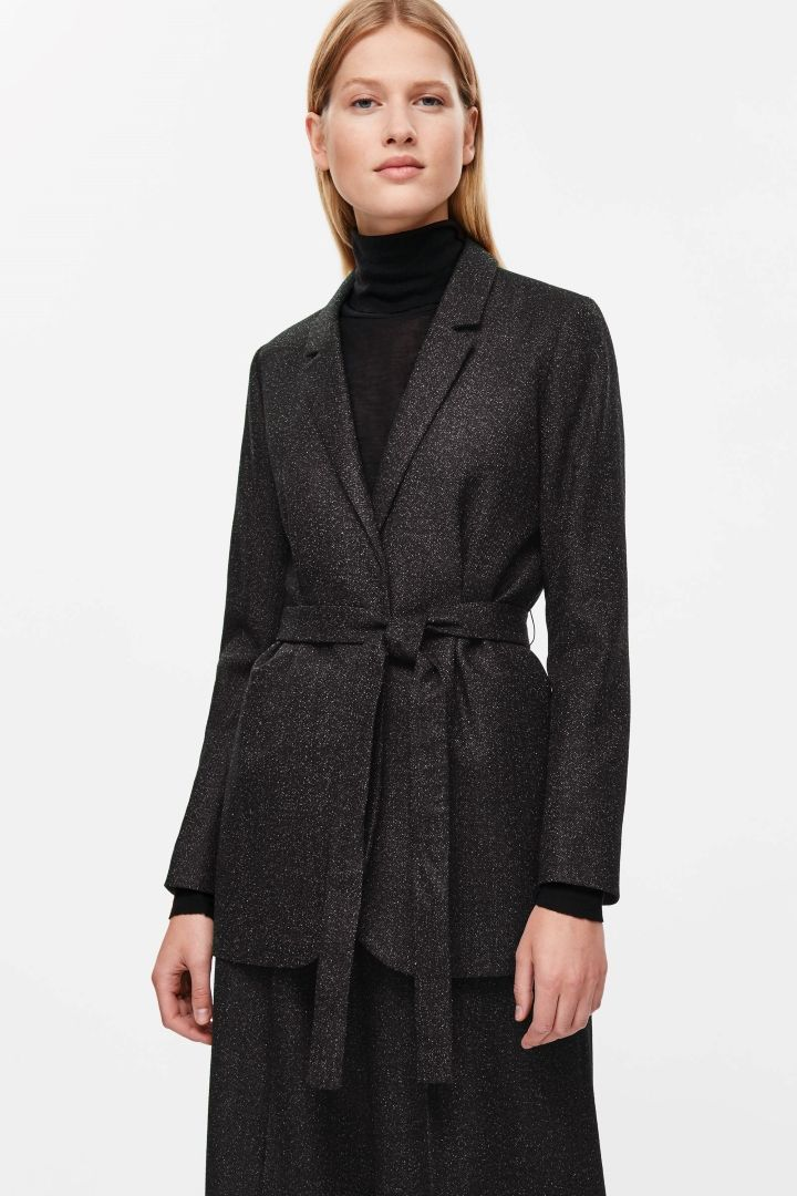 COS image 2 of Belted wrap-over blazer in Black