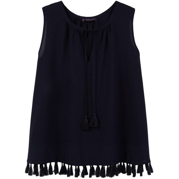 Fringed Detail Blouse (350 MXN) ❤ liked on Polyvore featuring tops, blouses, shirts, tank tops, sleeveless tops, v-neck shirt, blue shirt, blue sleeveless blouse and embellished shirt