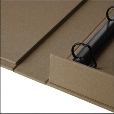 """A Ring Binder Box is structurally the same as a HALF CLAMSHELL BOX but has an added matte black ring mechanism that allows for easy viewing of pages.  This Ring Binder Box can be made with a 1"""", 2"""" or 3"""" ring and is designed to hold contents that measure 11"""" x 14"""" and are standard 3 hole punched along the 11"""" side."""