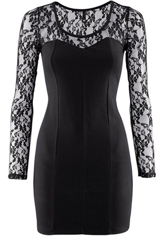 Black Embroidery Mini Spandex Stretch Lace Dress