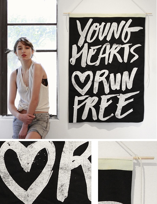Young Hearts Wall Flag