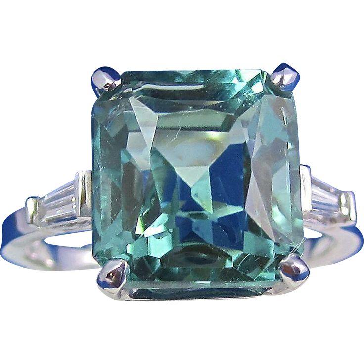 Radiant Blue Green Quartz & Diamond Vintage Ring 18K at Mayfair Estate & Antique Jewelry on RubyLane.com