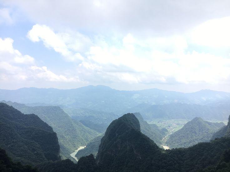 Combination between lake, mountain, and the sky at Tianmen Mountain, Zhangjiajie, China