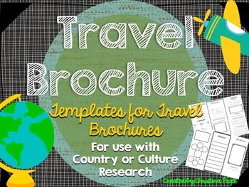 Students will love creating their own travel brochure! Students can research, create, and present information about any country! Great for culture studies and country presentations. This format can also be made into a travel style pamphlet/booklet with multiple pages.