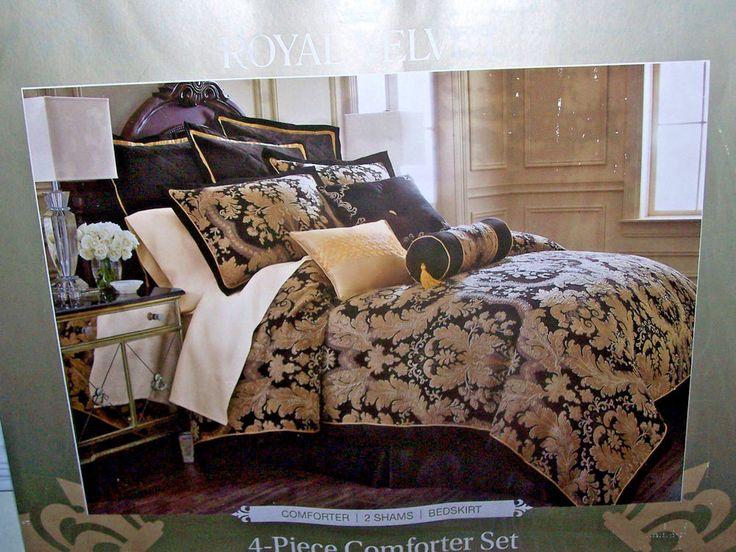 Royal Velvet Vanessa 4-pc Chenille Comforter Set Black/Gold/taupe/gray Queen lux #royalvelvet #Traditional