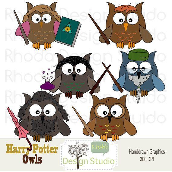 Owl Clip Art Harry Potter Digital Cartoon by RhodaDesignStudio
