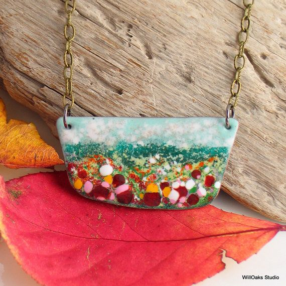 Colorful Jewelry, Enameled Copper Bar Pendant, Necklace to Layer, Flower Fields Landscape #1, Original Vitreous Enamel,  Ready to Ship