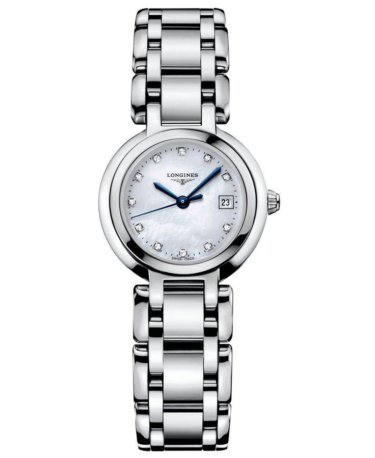 Longines Watch Women S Primaluna Diamond Accent 1 3 Ct T W Stainless Steel Bracelet L81104876 Stainless Steel Bracelet Bracelet Watch Silver Watch