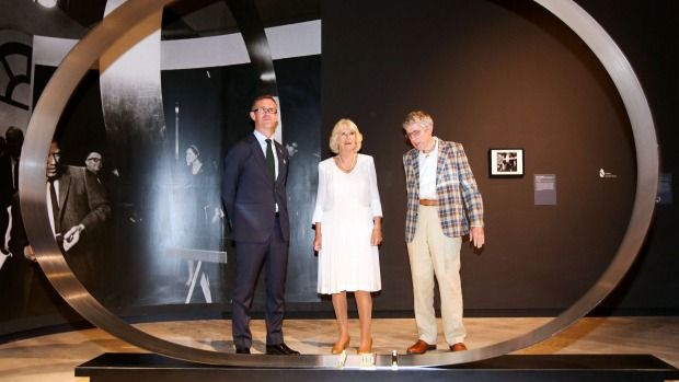 Camilla, Duchess of Cornwall admires a sculpture at the Len Lye Centre with centre director Simon Rees, left, and Len ...