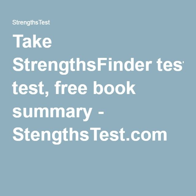 Take StrengthsFinder test, free book summary - StengthsTest.com