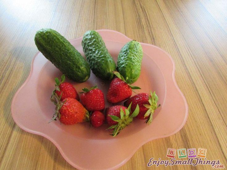 Organic strawberries and cucumbers