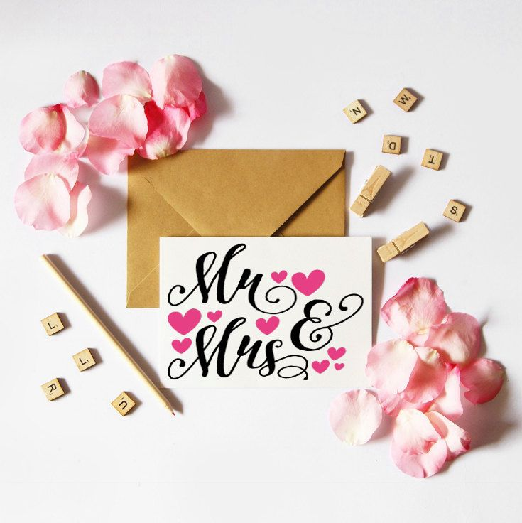 Mr & Mrs Card, Wedding, Anniversary, Engagement, Card, Marriage, Hearts, Love, Partners, Romance, Wedding Card, by TheArtOfCreativityCo on Etsy