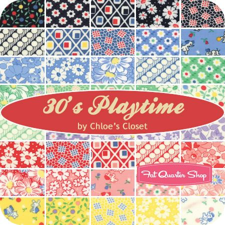 """30's Playtime Jelly Roll Chloe's Closet for Moda Fabrics - $39 for forty 2.5"""" strips of fabric rolled up and tied in a cute ribbon.  Jelly Roll includes duplicates of some prints."""