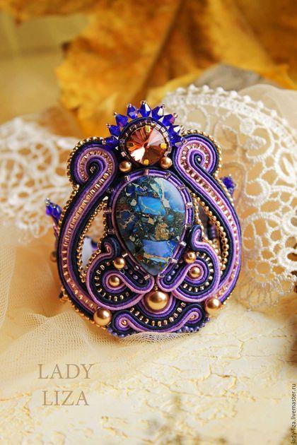 Браслет Звездное небо. Сутажный браслет. Фиолетовый браслет.