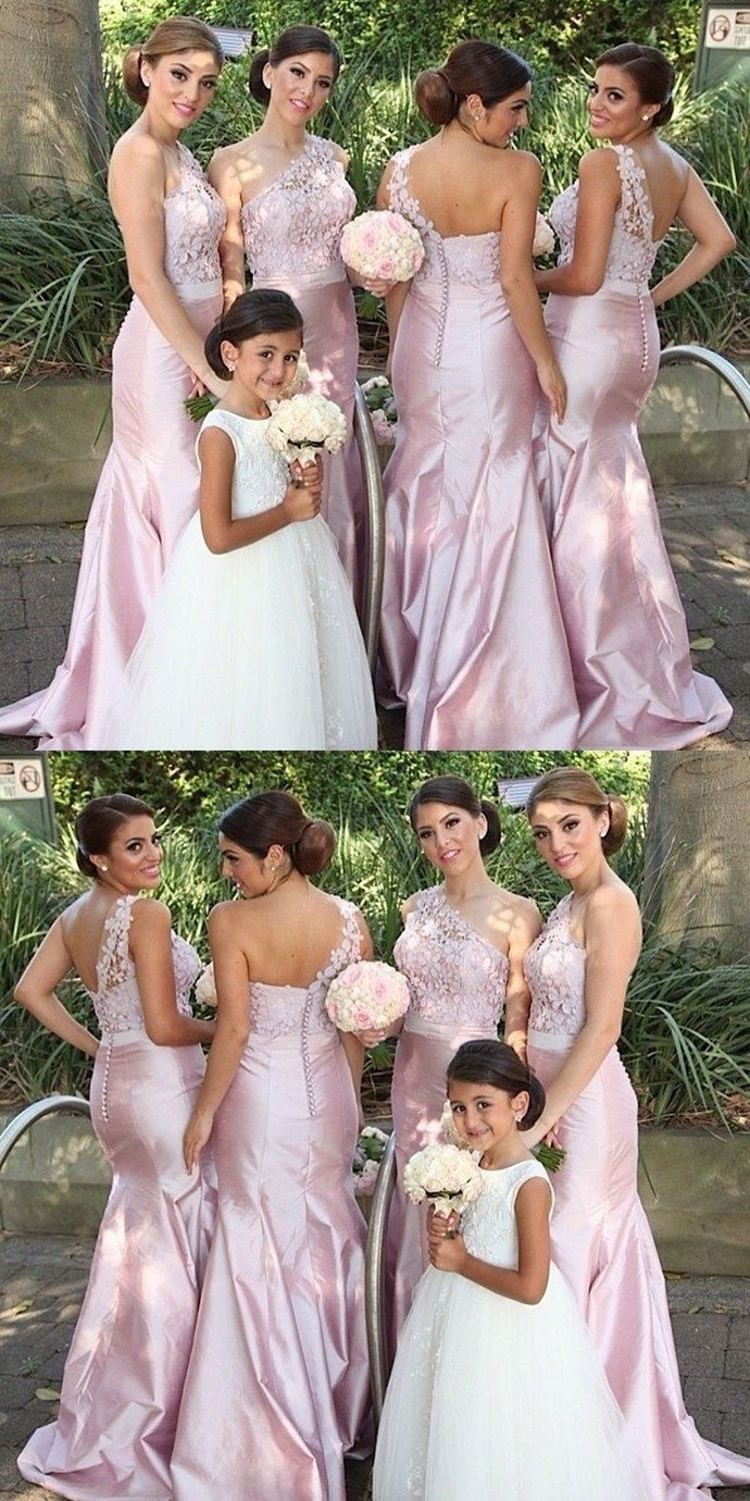0c6ce7d4f3 One Shoulder Mermaid Sexy Pink Long Bridesmaid Dresses with Handmade ...