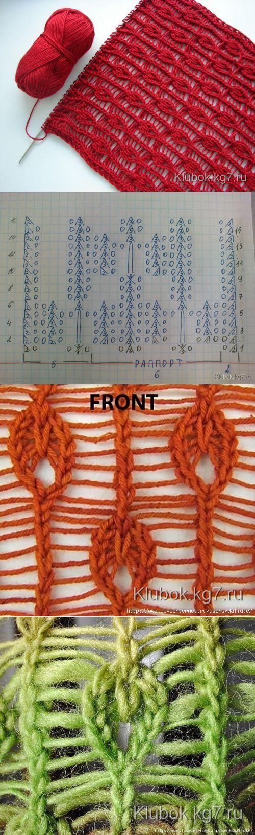 Ажурный узор спицами | Клубок
