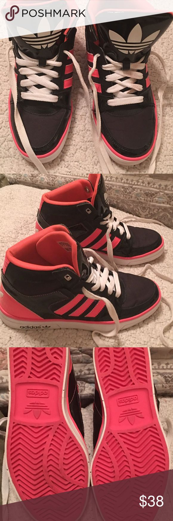 Ladies high top sneakers Ladies ortholite adidas high top sneakers, hot pink and black, Like new worn one time. Adidas ortholite Shoes Athletic Shoes