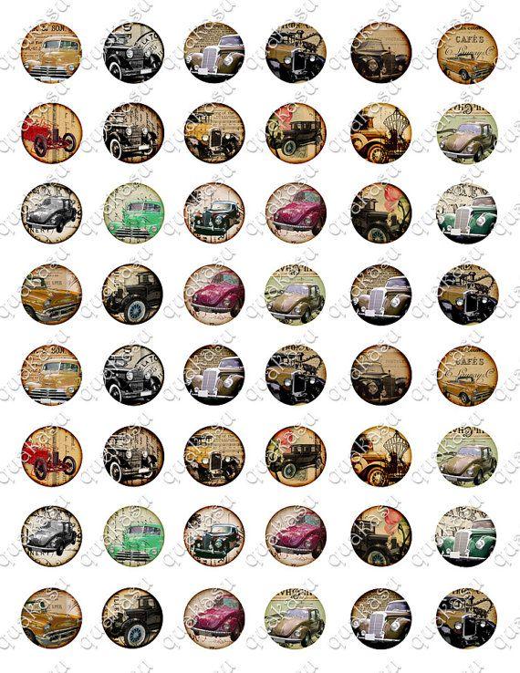 Oude autos, Oldtimers  Je ontvangt:  -1 papierformaat: US Letter (8,5 x 11 inch)-A4-formaat, met 48 cirkel beelden, (1 inch formaat) elke -Hoogwaardige 300 DPI jpeg-bestand  Mooie auto cirkel beelden perfect voor het creëren van uw zeer eigen ontwerpen zoals knoppen, Hangers, magneten enz. Je kunt ze ook integreren in uw scrapbook of decoupage projecten!  * GELIEVE OPMERKING * Dit zijn de digitale, niet gedrukte vellen. U kunt ze afdrukken zo vaak als u voor uw persoonlijke en kleine…