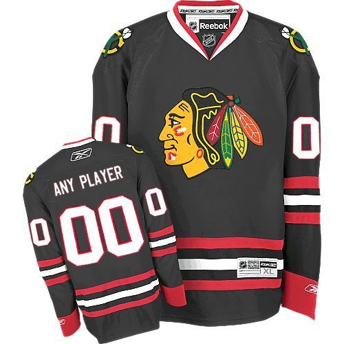 Blackhawks New Third Personalized Authentic Black NHL Jersey (S-3XL ... 55e6749d354
