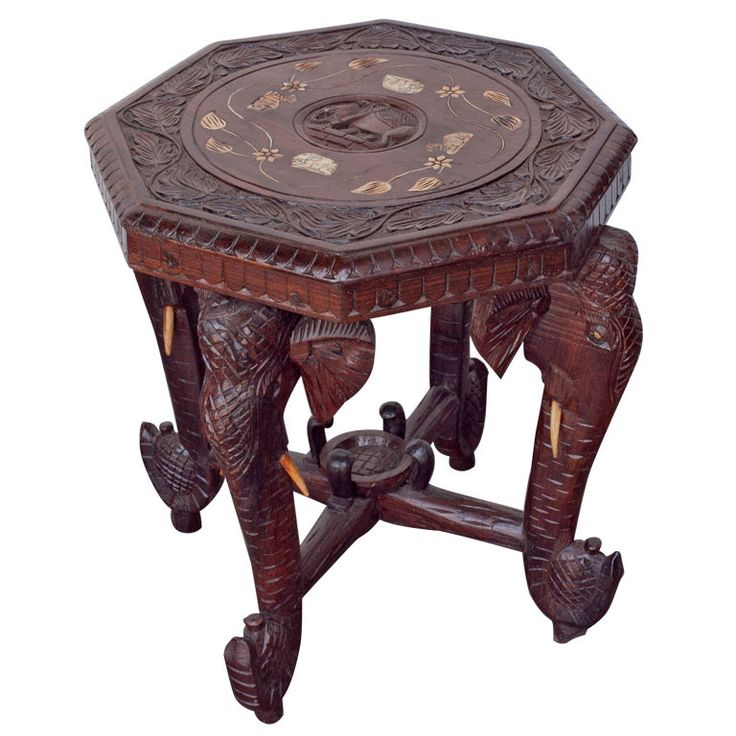 Anglo Indian Solid Rosewood Elephant Table With Bone Inlay