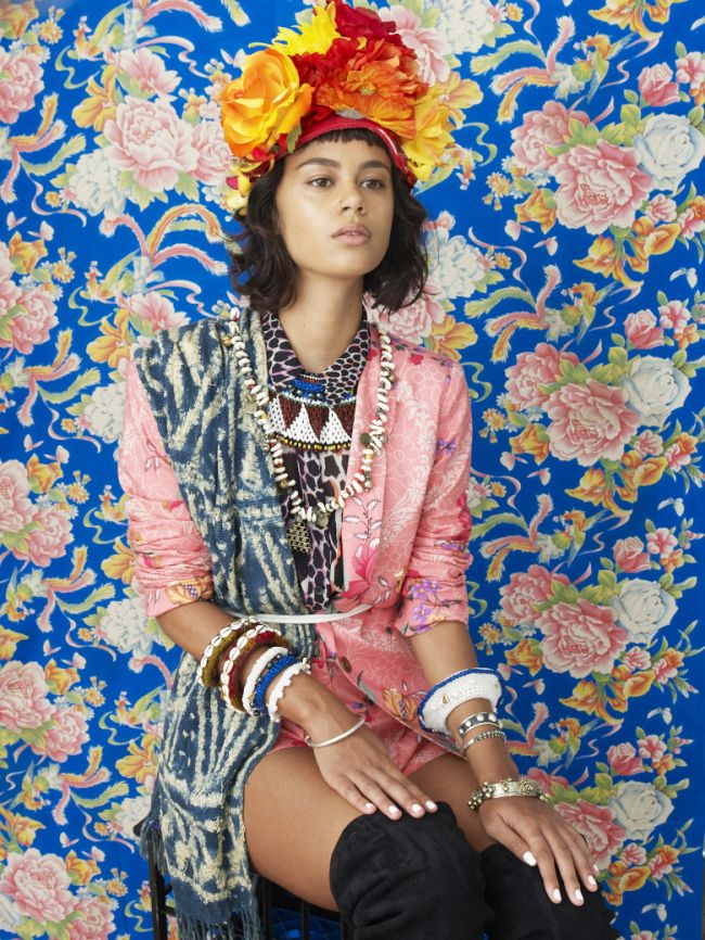 STYLE TRIBES. Floral appreciation Society. Celebrate yourself and the ritual of getting dressed in elaborate textures, graphic prints, haute headwear and big bold jewellery. This rich and vibrant mix is inspired by strong women from cultures all over and will enliven and energise.  This is how we live. x  STYLING Bettina McILwraith. PHOTO Grant Smith MakeUP Vanessa Collins MODEL Elfy Scott