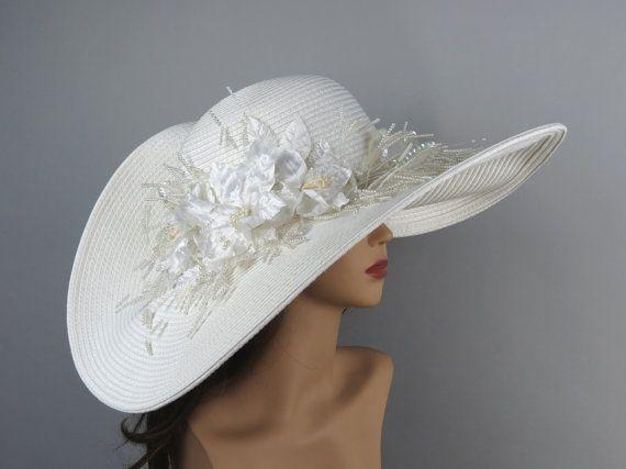 Chapeau mariée blanche chapeau Kentucky Derby Hat mariée accessoire chapeau chapeau Cocktail de mariage
