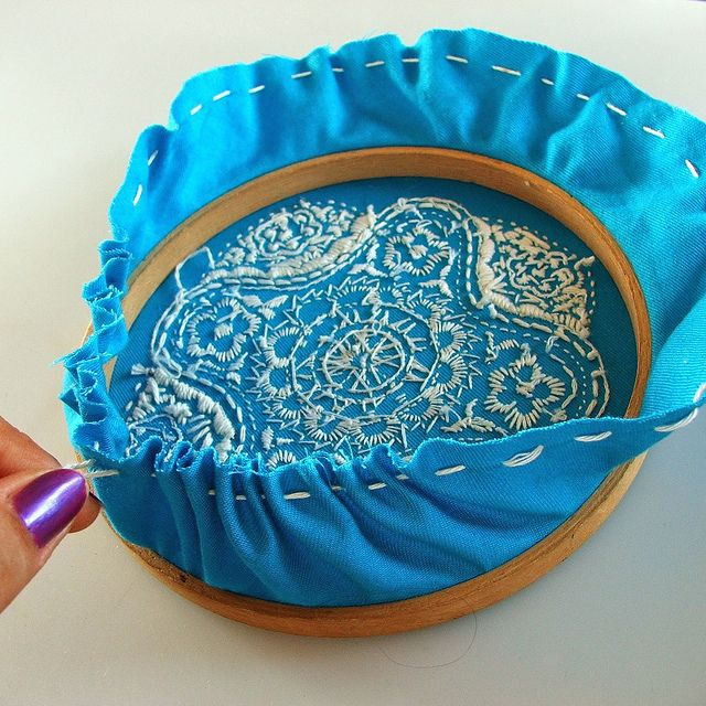 DIY - how to finish off embroidery displayed in a hoop.