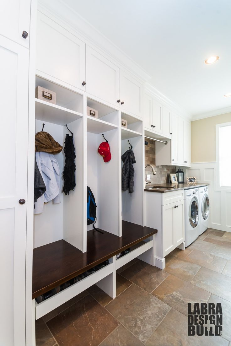 Laundry Mudroom Combo With Custom Cabinetry And Wainscoting By Labra Design Build In Novi