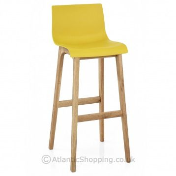 Beautiful Crafted The Drift Oak Yellow Bar Stool Is Sure To Brighten Up Your
