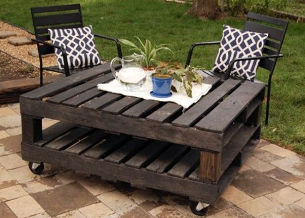 This particular table was made using two 4′ x 4′ wood pallets, one 4″x4″ beam cut into four pieces, four caster wheels, some L-brackets, and screws and gray stain. The fabulous result of this simple DIY project? A very practical outdoor rolling table that can act as a coffee table when you're outside hanging out with your friends or family, or as a mini dining table when you want an outdoor snack.{found on joyeverafter}.