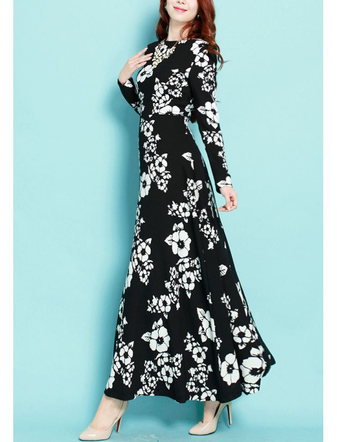 15 best vintage inspired floral dresses images on pinterest floral black and white retro floral print dress mightylinksfo