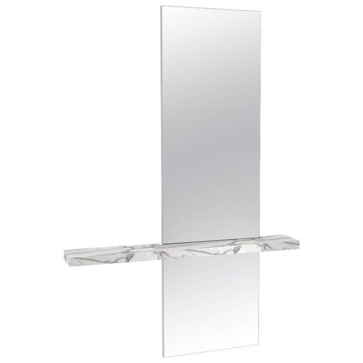 Edgewater Minimal Contemporary Mirror with Carrara Marble Shelf   From a unique collection of antique and modern wall mirrors at https://www.1stdibs.com/furniture/mirrors/wall-mirrors/