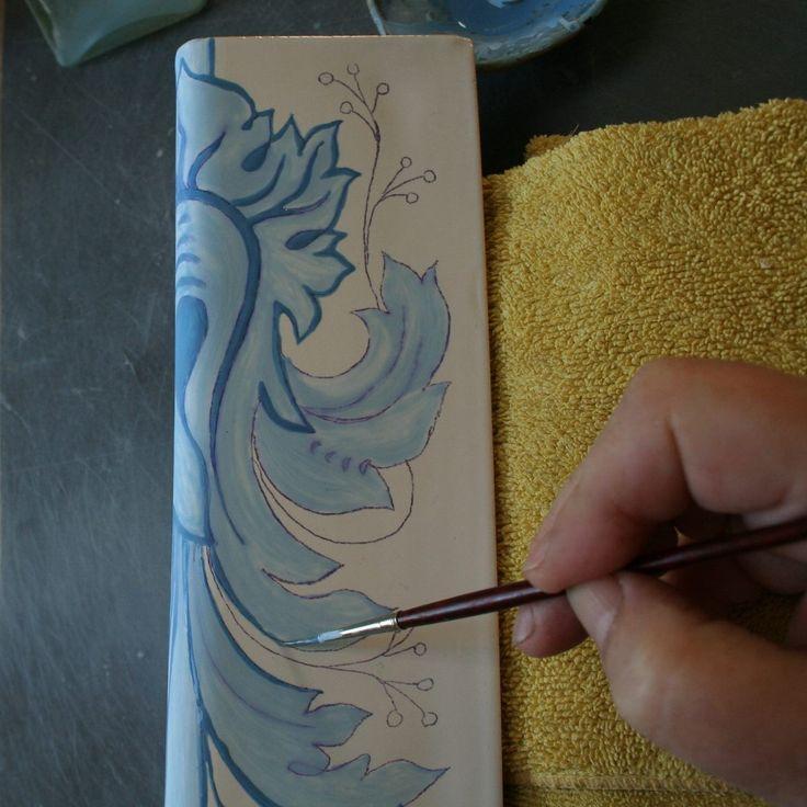 malowanie kafla kobaltem. Danuta Rożnowska-Borys  -BorysArt