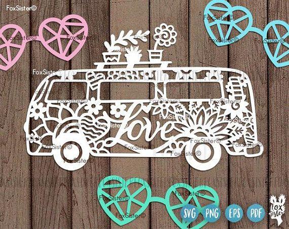 ba6bf6e45eb0b Hippie Van Svg, Hippie Van Cut File, Flower Power Svg, Camper Van ...