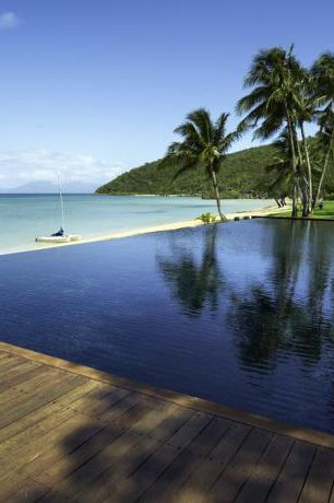 The beach front infinity pool at Orpheus Island. The resort is a an exclusive, luxury and all inclusive experience where they even tailor make your menu just for you at the start of your stay!