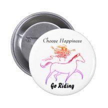 Choose Happiness - Go Riding 6 Cm Round Badge