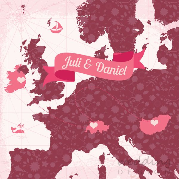 PINK&MARSALA wedding invitation card with map - PINK&MARSALA esküvői meghívó térképpel Graphic/Grafika: Weddign Design