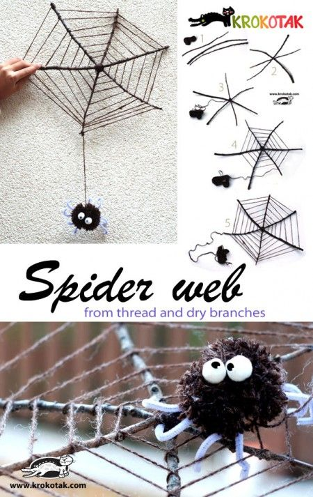 Gather a few dry branches from the park. They will help you make such a spider web. You...
