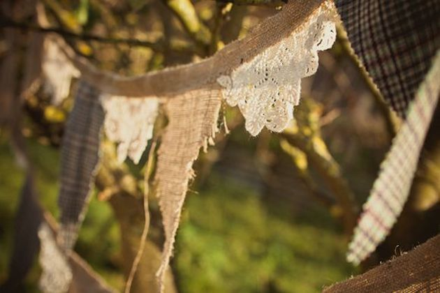 decorate ceilings and branches with lace and burlap bunting!