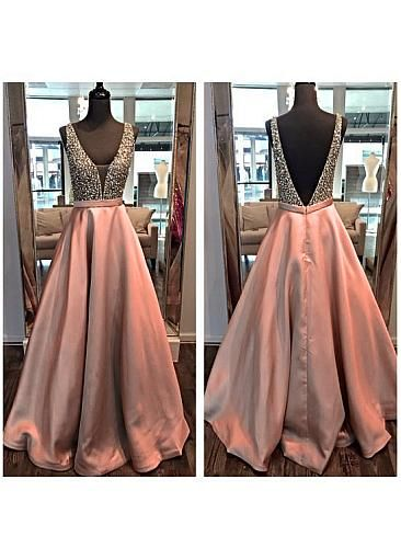 Gorgeous Tulle & Satin V-Neck A-Line Formal Dresses With Beads