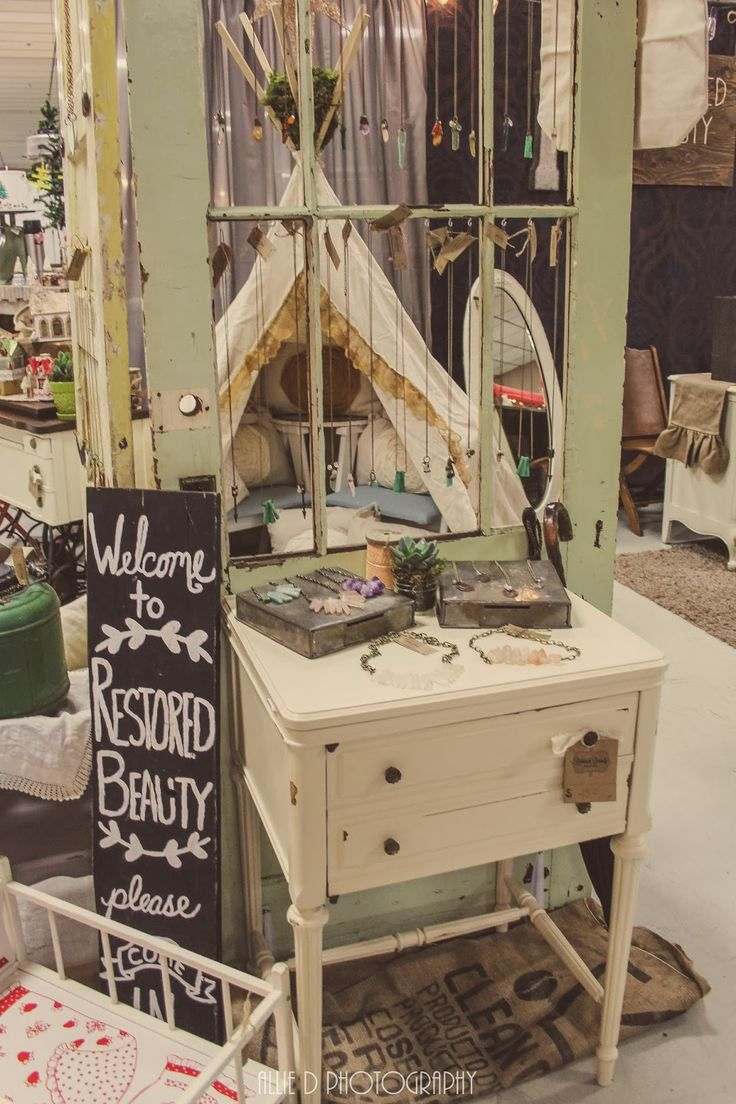 """Look closely you will see a teepee set up in a booth at our vintage market. """"Junk Salvation"""" by Funky Junk Sisters"""