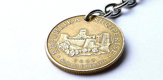 Albanian, Coin charm, Coin keychain, Castles, Handbag charm, Purse charm, Women's accessory, Coins, Repurposed coin, Upcycled coin, 2000